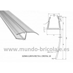 Junta Recta Larga Cristal 10mm