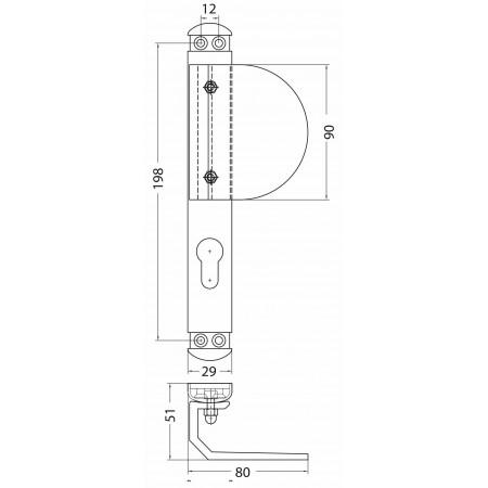 Asa tirador reversibles con escudo bocallave para puertas