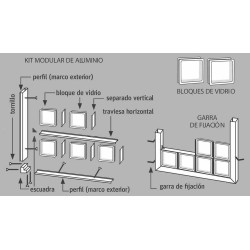 Tecniblok Estructura Montaje Pared Bloques de Vidrio