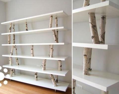 Estanterias con troncos